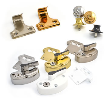 Decorative sash hardware, includes sash lifts, buttons and locks