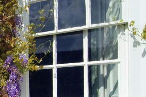 Timber sash window with sash hardware