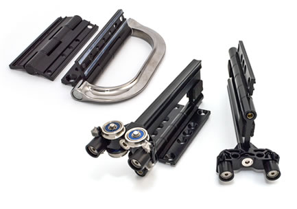 A variety of door hardware including handles and hinges