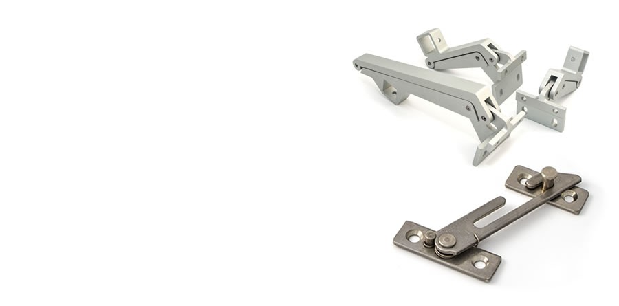 casement window hardware, including folding openers and restrictors